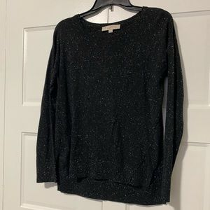 LOFT Black and White Speckled Sweater